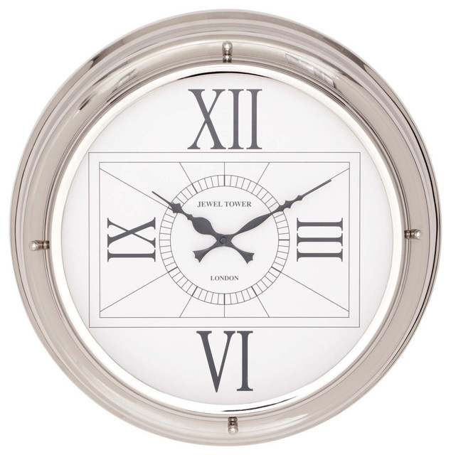 stainless steel wall clock contemporary wall clocks by brimfield may. Black Bedroom Furniture Sets. Home Design Ideas