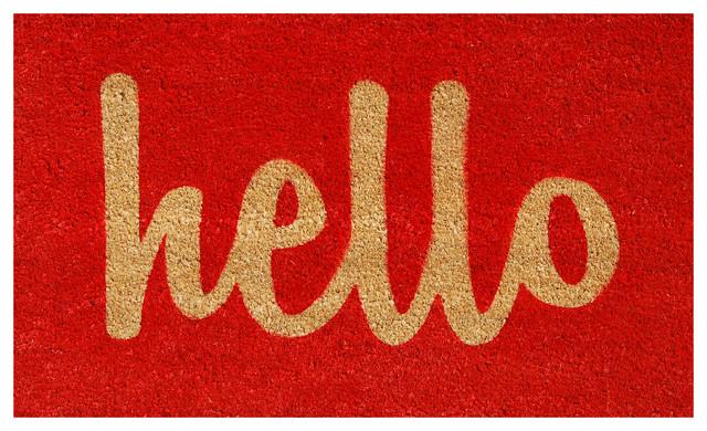"""Hello"" Doormat, Red and Natural, 17""x29"" contemporary-doormats"