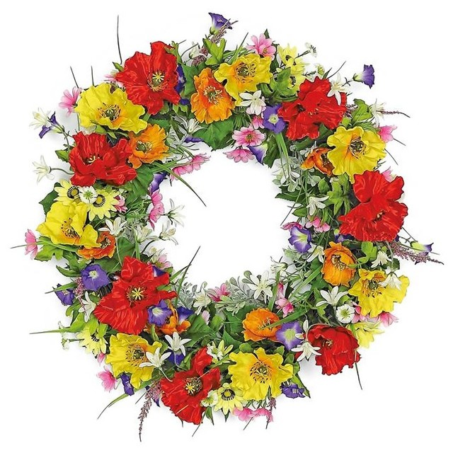 "Burst Of Color Poppy And Wildflower Wreath, 24""."