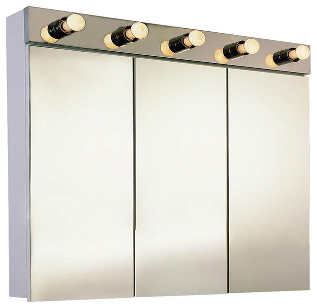 """Tri-View With Light Surface Mounted Medicine Cabinet, 36""""x34"""", Polished Edge"""
