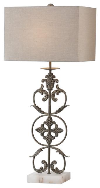 Classic Open Ornate Scroll Table Lamp Bronze Metal Fleur De Lis Old World