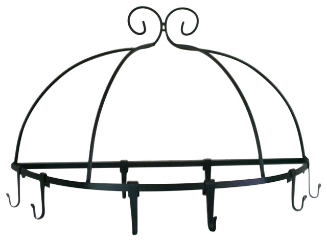 Wrought Iron Pot Rack--Half Round With 8 Hooks Amish Made.