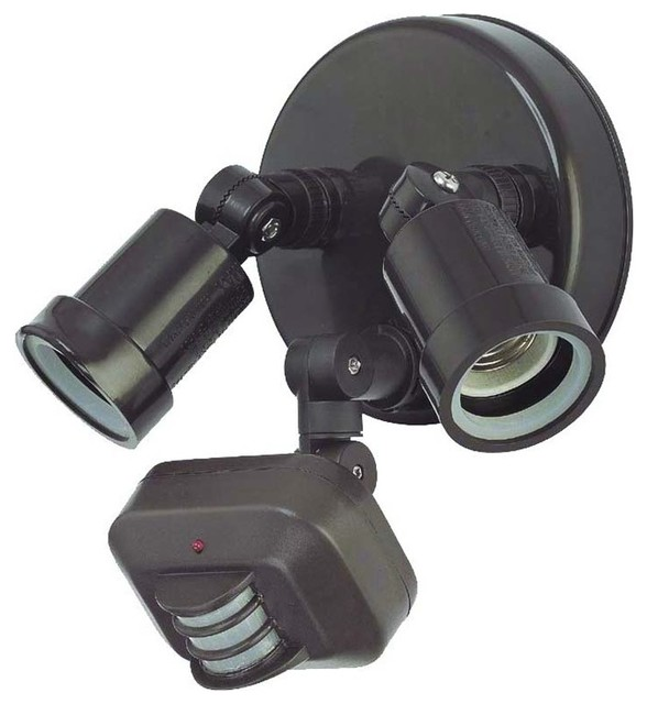 Motion Activated Floodlights 2-Light Outdoor Light, Architectural Bronze.