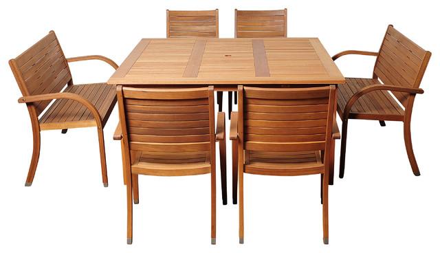 Arizona 7-Piece Eucalyptus Square Patio Dining Set.
