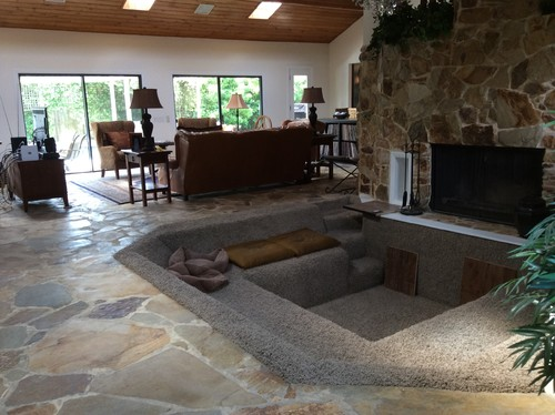 Furniture Layout And Style In Large Open Liv Rm W Flagstone Floor