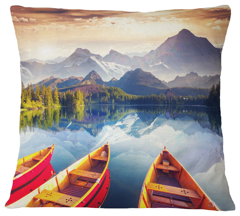 Boats Heading To Lake Landscape Throw Pillow Contemporary Decorative Pillows By Design Art Usa