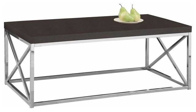 Criss Cross Coffee Table.Contemporary Cocktail Coffee Table With Sturdy Chrome Metal Criss Cross Base