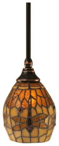 "Stem Mini Pendant In Black Copper, 5.5"" Amber Dragonfly Tiffany Glass."