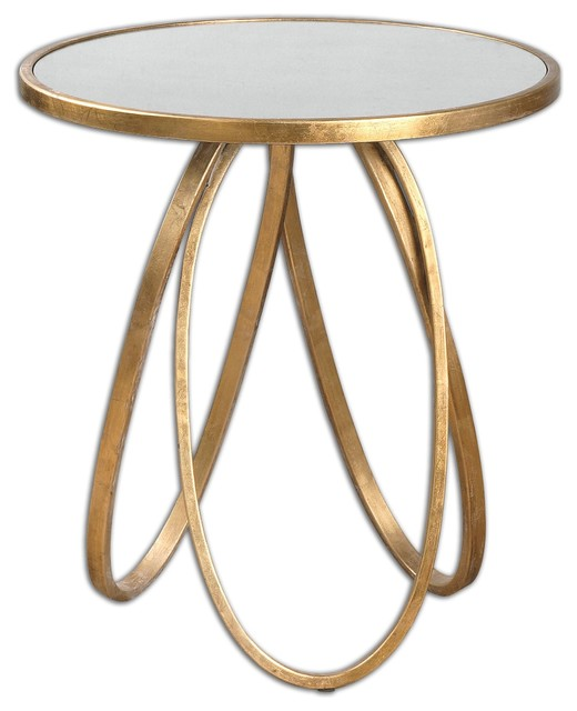 Montrez Gold Leaf Round Accent Table With Antiqued Mirror Top