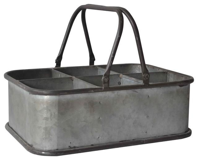 6slot rectangular metal caddy