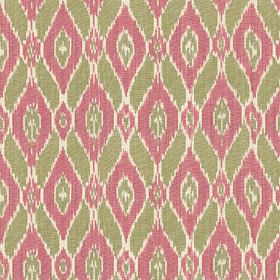 Pink and Green Handwoven Ikat Fabric Eclectic Drapery