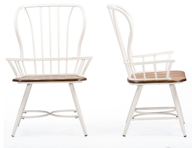 Longford Dining Arm Chairs, Set Of 2, Dark Walnut/white.