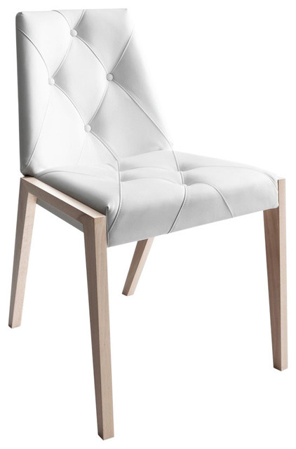 Swell Rose Dining Chairs Set Of 2 Natural Beechwood Genuine Leather Off White Pabps2019 Chair Design Images Pabps2019Com
