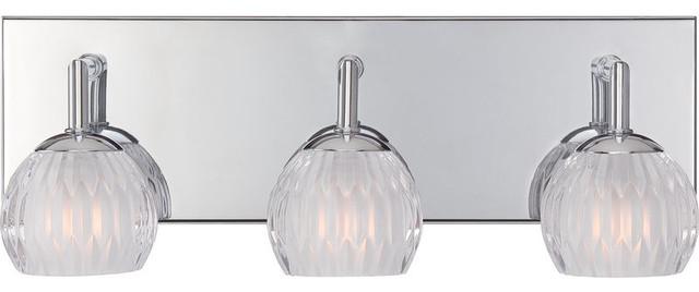 3 Light Halogen Bulb Bath Vanity Light, Polished Chrome