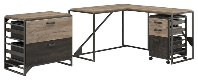 refinery 50w l shaped industrial desk with 37w return and file cabinets industrial desks and. Black Bedroom Furniture Sets. Home Design Ideas