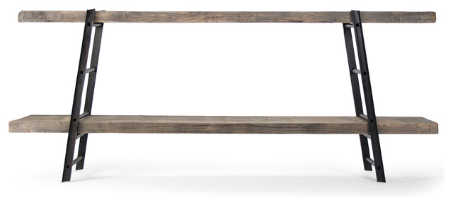 Boulder Reclaimed Wood Industrial Iron Rustic Slab Media Console