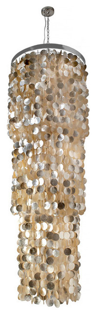 Round King Size Chandelier with Round Capiz Seashells, Gold Hue