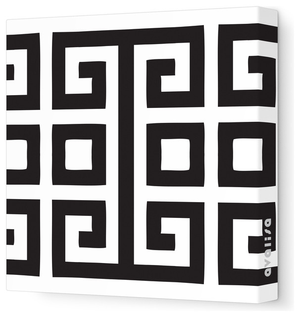 Pattern Square Stretched Wall Art 12 X Black