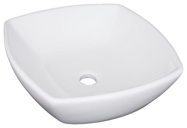"Vanity Fantasies ""contour"" Porcelain Square Shaped Vessel Sink, White."