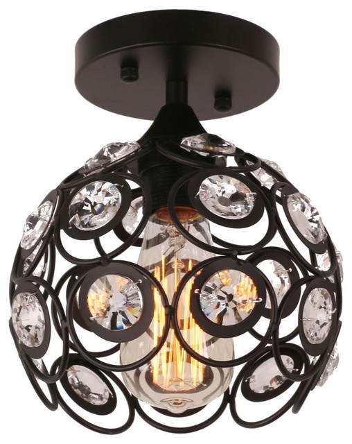 Antique Metal Crystal Hollow Semi Flush Mount Ceiling Light, Black.