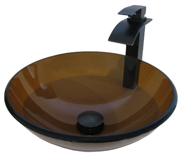 Novatto Ty Glass Vessel Bathroom Sink Set, Oil Rubbed Bronze.