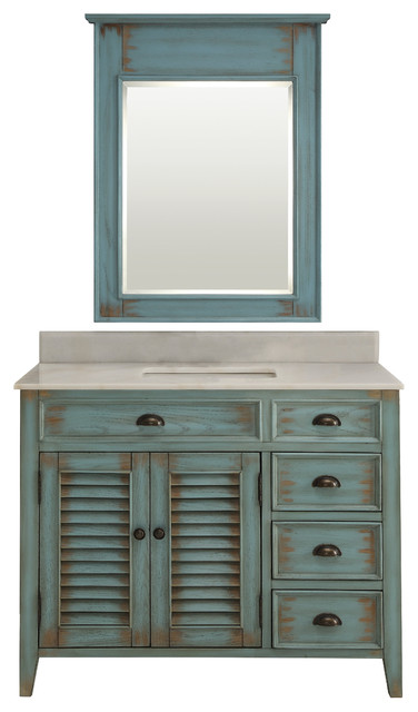 42 Distress Blue Abbeville Bathroom Sink Vanity With Matching
