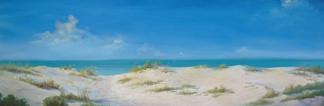 "Original 24"" X 72""  Tropical Seascape Oil Painting"