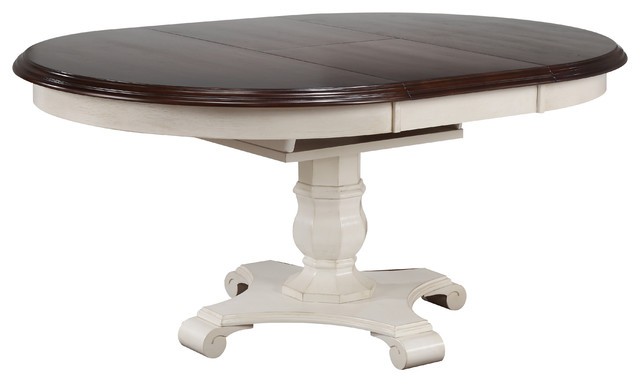 Merveilleux Andrews Butterfly Leaf Dining Table, Antique White And Chestnut Top