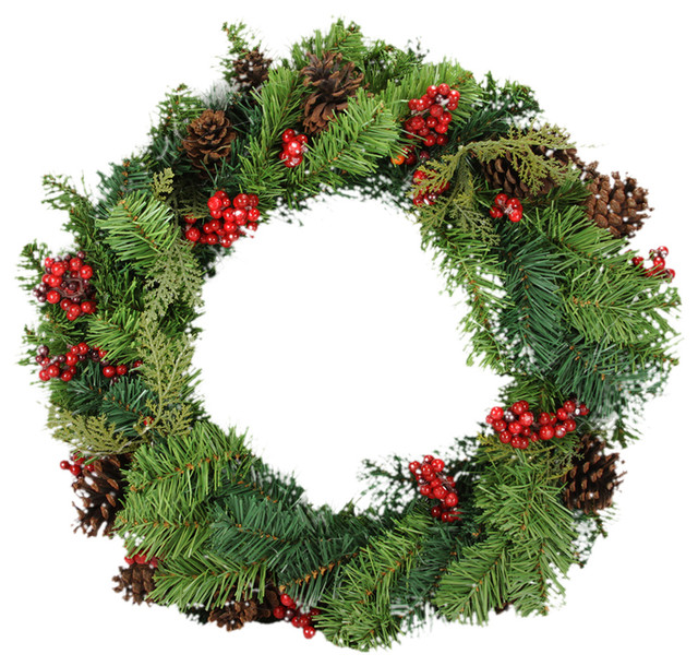 """24"""" Red Berry And Pine Cone Artificial Christmas Wreath, Unlit."""