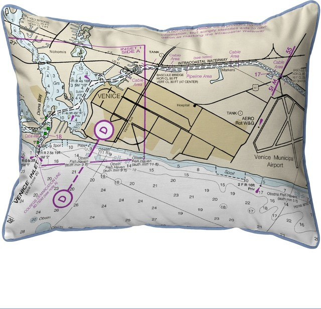 Betsy Drake Venice Inlet Fl Nautical Map Small Indoor