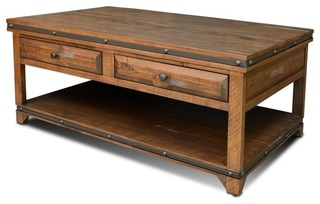 Rustic Distressed Reclaimed Wood Coffee Table With 2 Drawers