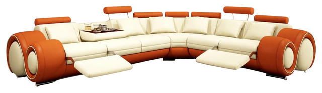 4087 Orange & Cream Bonded Leather Sectional Sofa With Built-in ...