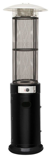 6 Ft. 34,000 Btu Cylinder Patio Heater With Glass Flame Display In Black.