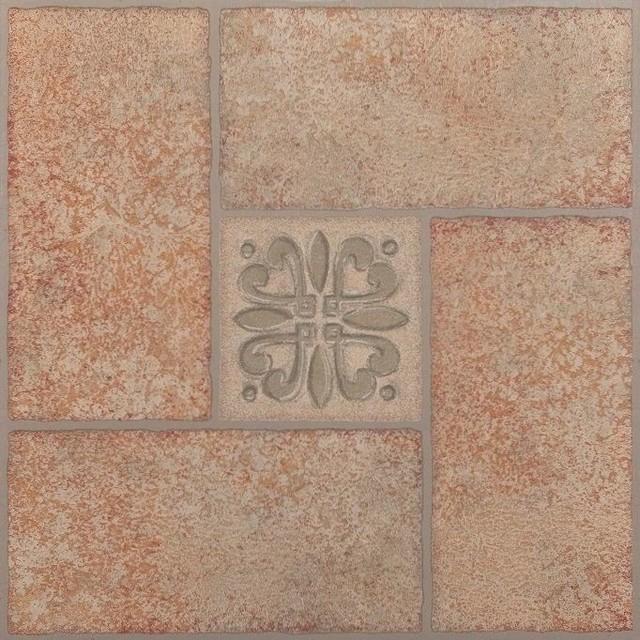 "12""x12"" Tivoli Beige Terracotta Motif Self Adhesive Vinyl Floor Tile, Set Of 45."