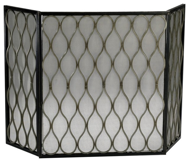 "Cyan Design Gold Mesh 48.5"" Iron Fire Screen, Mystic Gold."