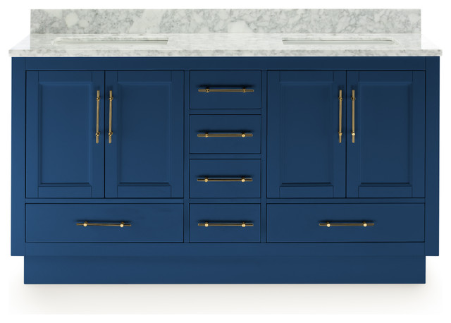 """Kendall Vanity With Plinth Base, Blue, 60"""""""