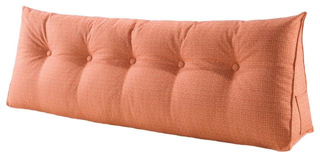 Decorative Bed Wedge Long Lumbar Pillow Back Support Sofa Pillow Linen Orange