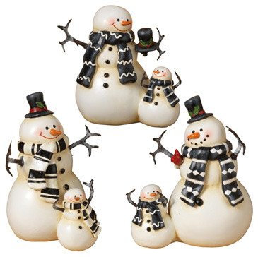 Resin Coupled Snowmen Figurines, Set of 3