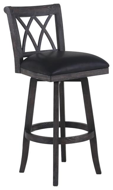 swivel wood stool black and wire brushed black wood bar stools
