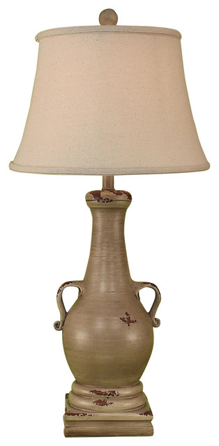 Casual Pot with 2 Handles & Square Base Farmhouse Table Lamps by He