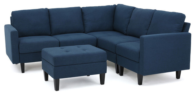 GDF Studio Bridger Fabric Sectional Couch with Ottoman, Deep Blue