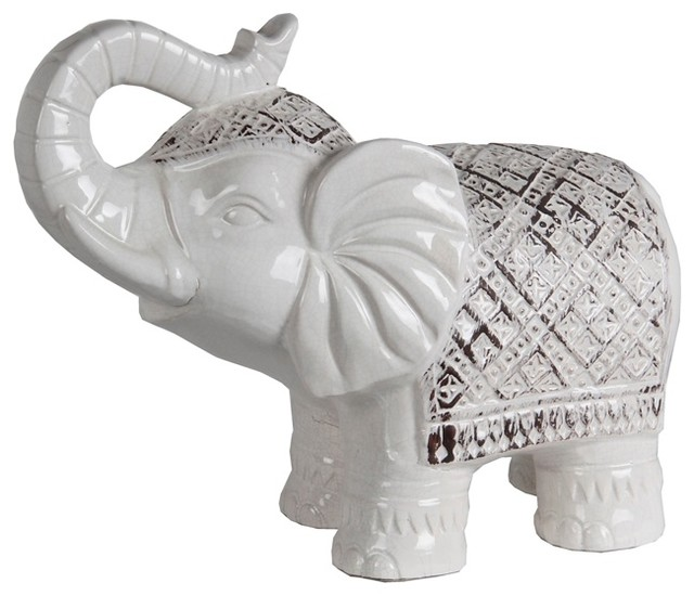 Privilege Antique White Ceramic Elephant
