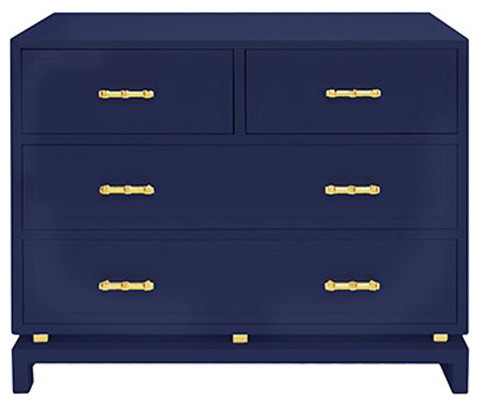 Worlds Away, Four Drawer Chest, Declan, Gold Leaf Hardware, Navy Lacquer