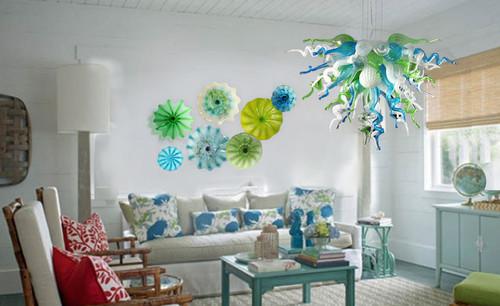 Art glass wall decor over sofa