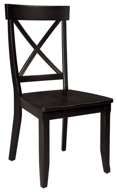 Wilson X-Back Dining Chairs, Set Of 2, Black.