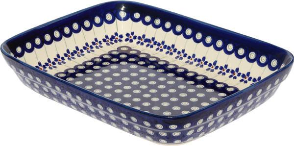 "Polish Pottery Baking Dish 8""x10"", Pattern Number: 166a."