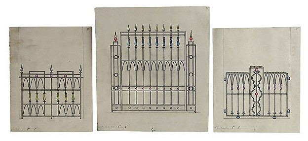 Consigned Vintage Garden Gate Renderings, Set of 3 Ink and Watercolor
