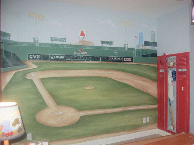 Fenway park mural traditional bedroom boston by for Baseball field mural