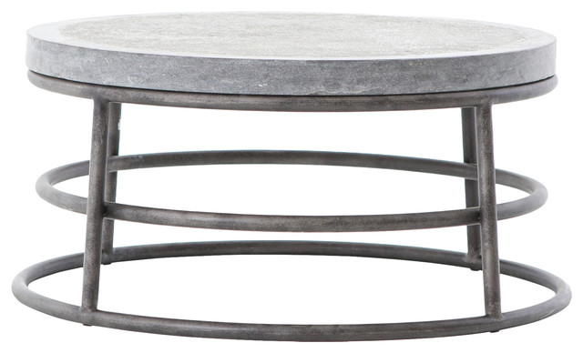 Wilma Industrial Loft Gray Bluestone Iron Ring Coffee Table Industrial Coffee Tables