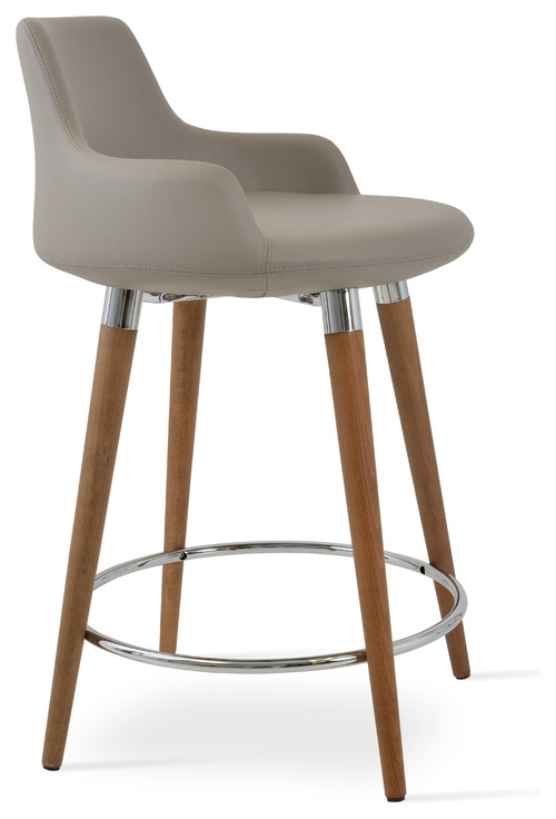 Dervish Wood Counter Stool, Bone Leatherette
